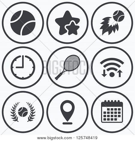 Clock, wifi and stars icons. Tennis ball and racket icons. Fast fireball sign. Sport laurel wreath winner award symbol. Calendar symbol.