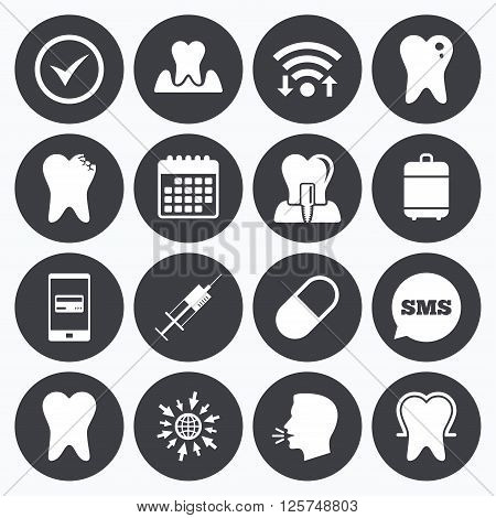 Wifi, calendar and mobile payments. Tooth, dental care icons. Stomatology, syringe and implant signs. Healthy teeth, caries and pills symbols. Sms speech bubble, go to web symbols.