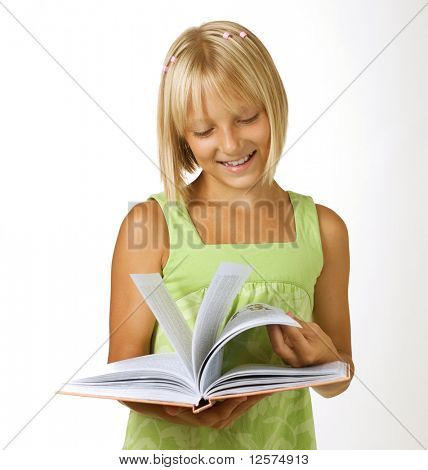 School Girl reading the Book