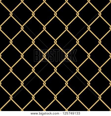 Gold wire grid seamless pattern background on black. Vector illustration