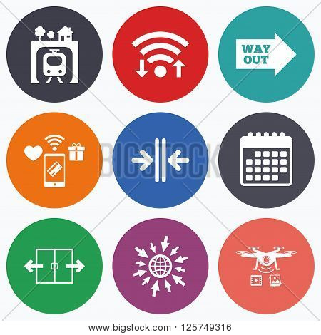 Wifi, mobile payments and drones icons. Underground metro train icon. Automatic door symbol. Way out arrow sign. Calendar symbol.