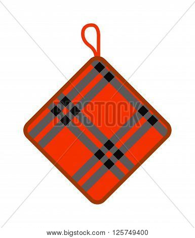 Pot holder home safety kitchen cooking utensil cotton thermal textile flat vector illustration. Safety potholder and kitchen pot holder. Green pot holder chef equipment cookery kitchenware.