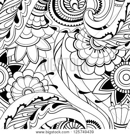 Spring or Summer flowers pattern - Adult coloring page. Vector illustration.