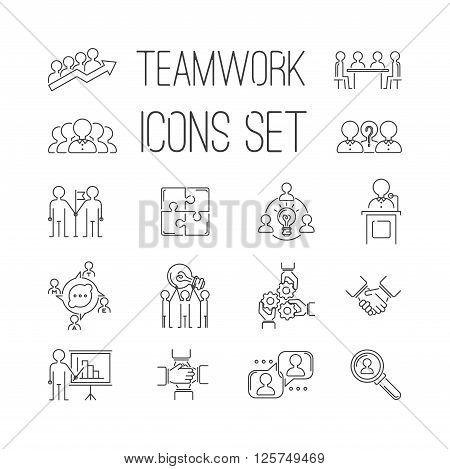 Business teamwork teambuilding thin line icons. Business, team work, command management thin lines and human resources icons. Teamwork icons, team work sign, Business work concept line icons vector