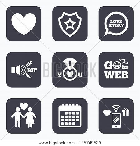 Mobile payments, wifi and calendar icons. Valentine day love icons. I love you ring symbol. Couple lovers sign. Love story speech bubble. Go to web symbol.