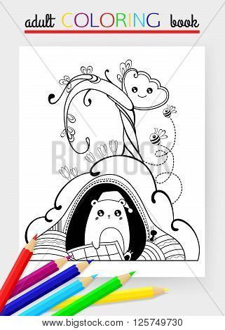 Spring time hand drawn doodle vector illustration with marmot, tulip and butterfly. Adult coloring book. Groundhog day background. Vector illustration.