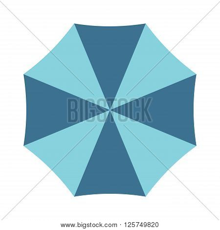 Vector illustration of classic elegant opened umbrella isolated on white background. Flat opened umbrella flat cartoon vector illustration. Opened umbrella weather parasol.