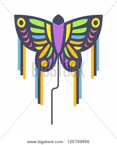 Summer kite like butterfly flying kite. Childhood playing freedom game kite and colorful fish kite hobby toy. Small flying rainbow colorful fish kite fun wind flying summer toy flat illustration.