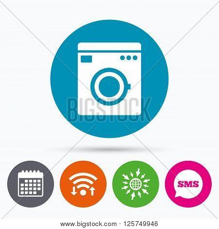 Wifi, Sms and calendar icons. Washing machine icon. Home appliances symbol. Go to web globe.
