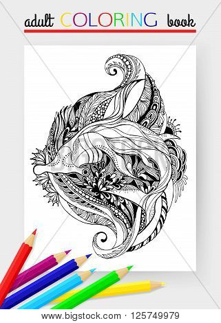 Hammerhead Shark - tattoo design. Hammerhead Shark - Adult coloring page. Shark Isolated on white background. Vector illustration.