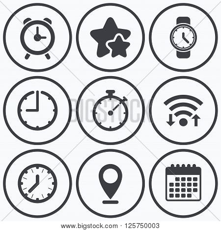 Clock, wifi and stars icons. Mechanical clock time icons. Stopwatch timer symbol. Wake up alarm sign. Calendar symbol.