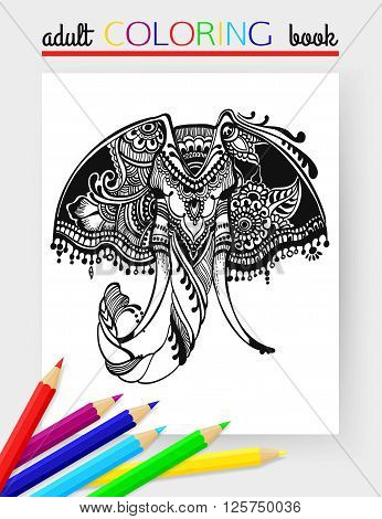 Adult Coloring Page with elephant head. Elephant head vector. Elephant head hand-drawn. Elephant head design. Elephant head isolated. Elephant head tattoo. Elephant head cartoon. Vector illustration.