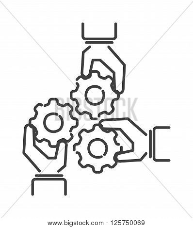 Teamwork business people teambuilding icon group communication concept line symbol outline vector. Teambuilding icon group communication and teambuilding icon cooperation success teambuilding strategy