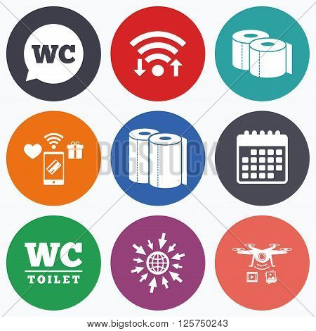 Wifi, mobile payments and drones icons. Toilet paper icons. Gents and ladies room signs. Paper towel or kitchen roll. Speech bubble symbol. Calendar symbol.