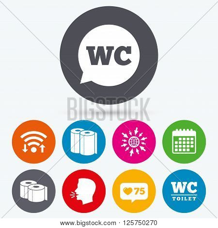 Wifi, like counter and calendar icons. Toilet paper icons. Gents and ladies room signs. Paper towel or kitchen roll. Speech bubble symbol. Human talk, go to web.