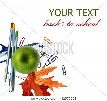 Voltar à concepção do conceito de escola.Artigos de papelaria.