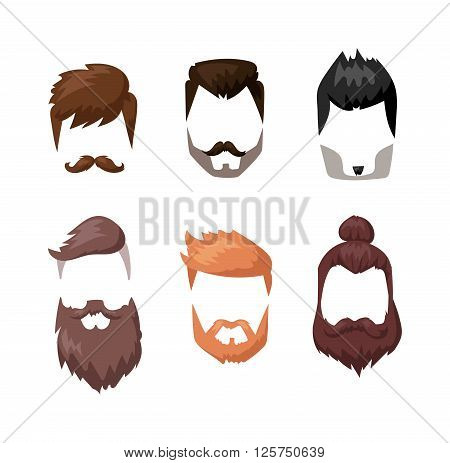 Hairstyles beard and hair face cut mask flat cartoon collection. Vector mail beard hair illustration. Flat hair and beards fashion style. Hairstyle set, haircut icons. Mans face beard and mustache