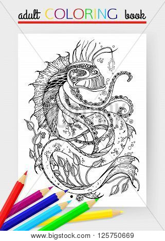 Adult Coloring Page with sea monster. Sea monster vector. Sea monster isolated. Sea monster cartoon. Sea monster design. Anglerfish vector.