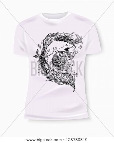 T-shirt print design. T-shirt Graphics. T-shirt graphics for textile. Shark vector. Shark isolated. Hand-drawn shark with ethnic doodle pattern. Vector illustration.