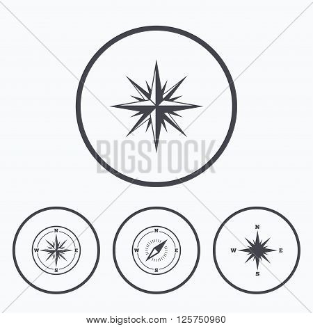 Windrose navigation icons. Compass symbols. Coordinate system sign. Icons in circles.