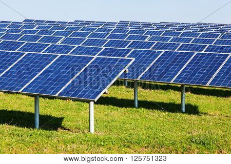 picture of a field with rows of solar collectors