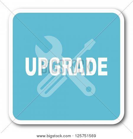upgrade blue square internet flat design icon