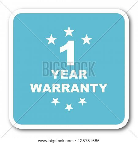 warranty guarantee 1 year blue square internet flat design icon