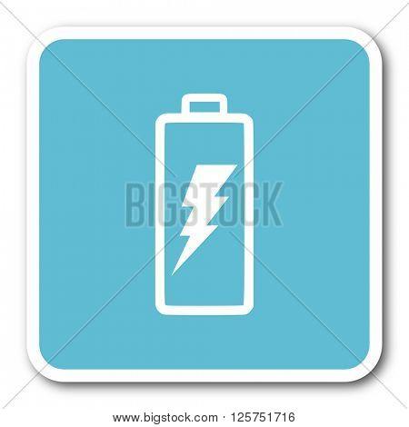 battery blue square internet flat design icon