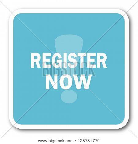register now blue square internet flat design icon