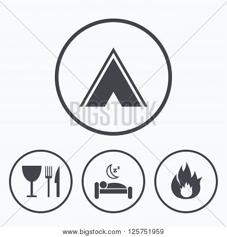 Food, sleep, camping tent and fire icons. Knife, fork and wineglass. Hotel or bed and breakfast. Road signs. Icons in circles.