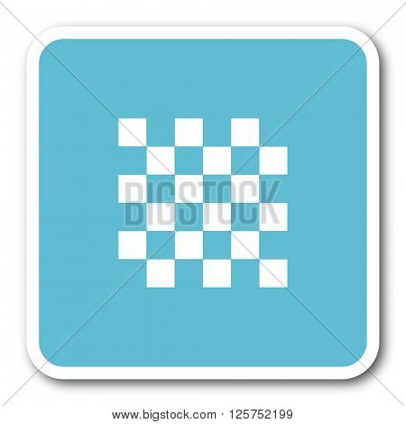 chess blue square internet flat design icon