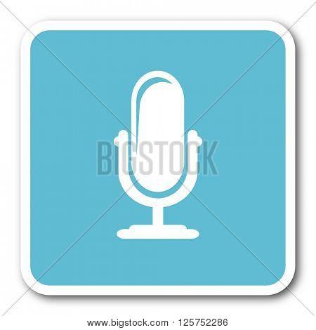 microphone blue square internet flat design icon