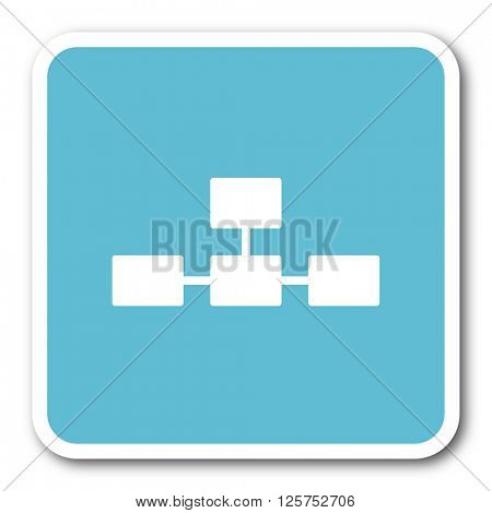 database blue square internet flat design icon