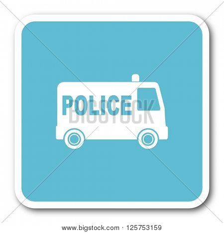police blue square internet flat design icon