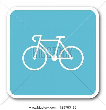 bicycle blue square internet flat design icon