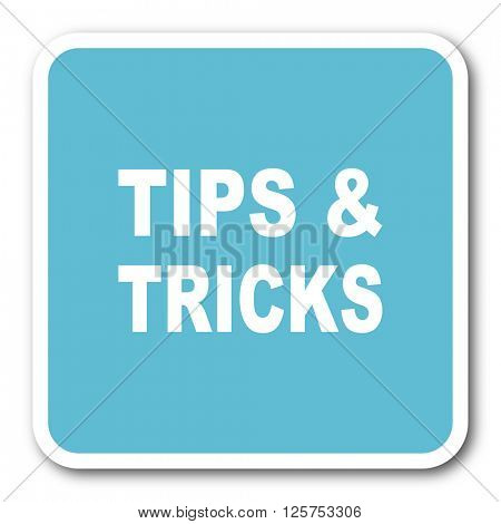 tips tricks blue square internet flat design icon