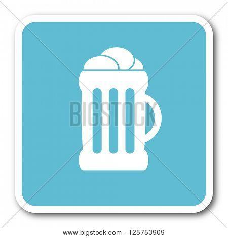 beer blue square internet flat design icon