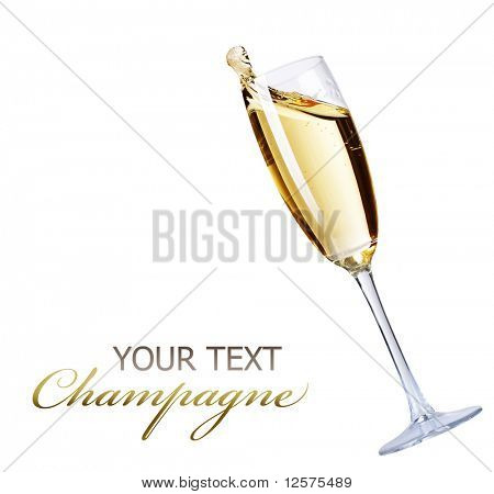 Champagne over white background