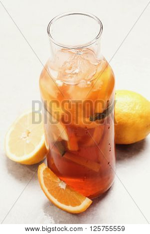 Refreshing ice tea drink with lemon