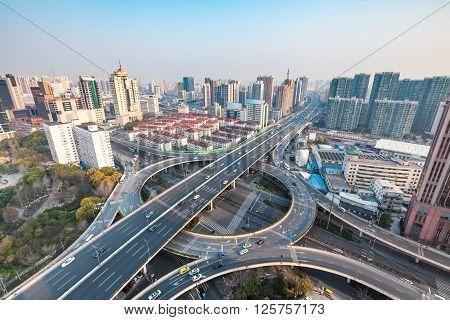 shanghai city interchange in the morning urban traffic concept