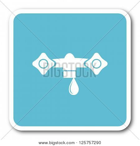 water blue square internet flat design icon