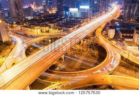 shanghai city interchange closeup at busy night