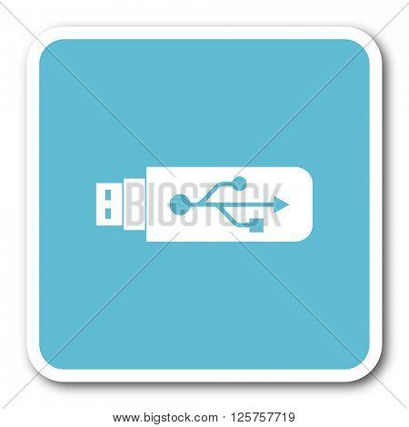 usb blue square internet flat design icon
