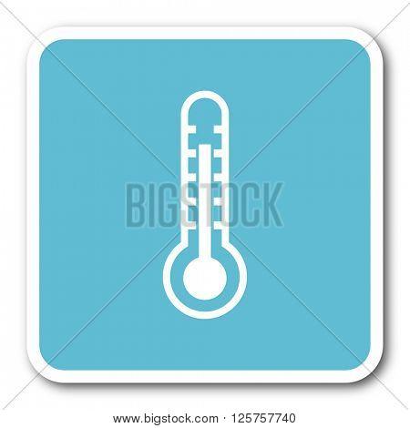 thermometer blue square internet flat design icon