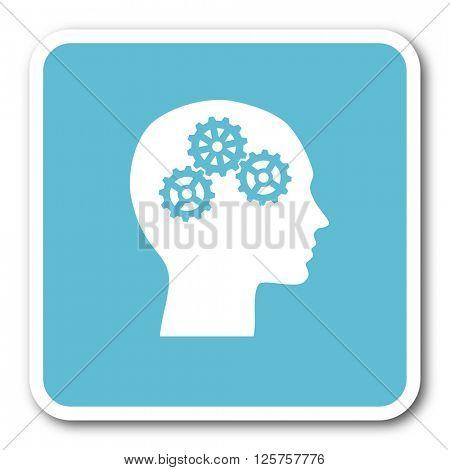 head blue square internet flat design icon