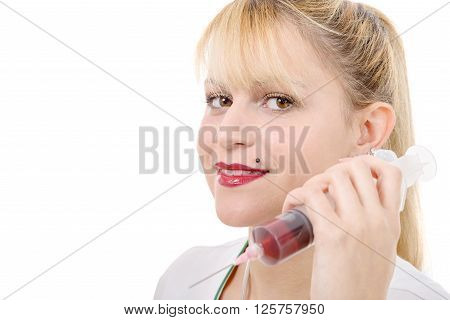 an happy smiling young female doctor with syringe on white
