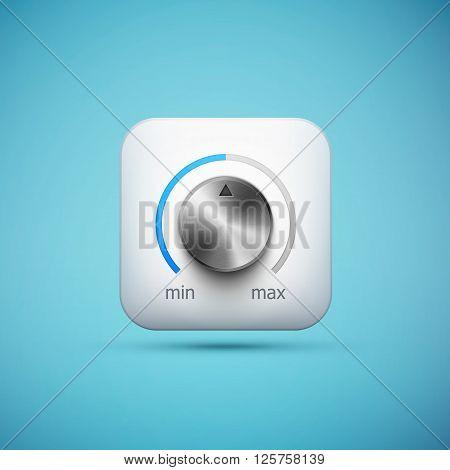 white app icon with music volume control knob realistic metal texture eps10 vector illustration