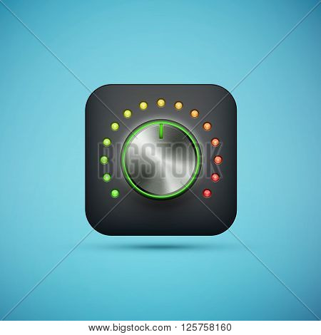 black app icon with music volume control knob realistic metal texture eps10 vector illustration