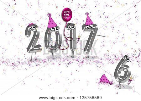 New year 2017 party humor with pink hats, confetti and balloon on white.