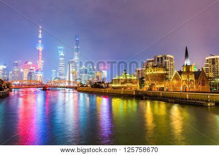beautiful shanghai with suzhou river at night